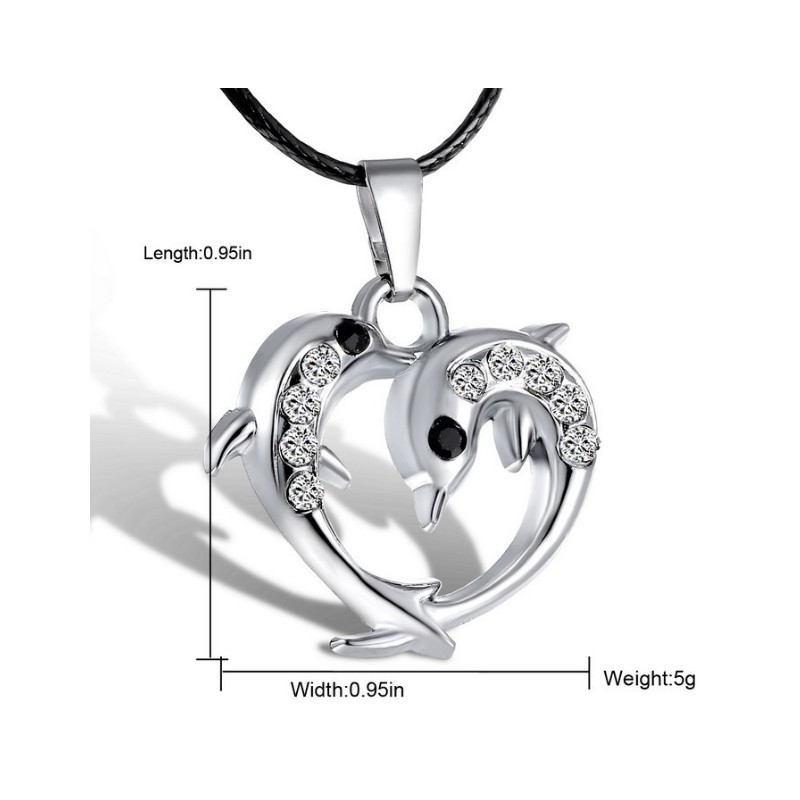 Silver dolphins pendant with leather cord aloadofball Image collections