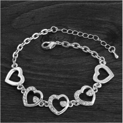 Style Romantic Heart Bracelet Femme Silver Plated