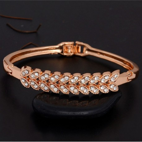Yellow Gold Clear Austrian Crystal Bracelet