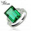 Emerald Synthetic Cubic Zirconia of Sterling Silver Ring - FREE Shipping!