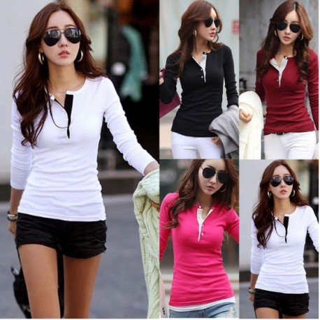 korean fashion women s slim chiffon tops long sleeve shirt casual