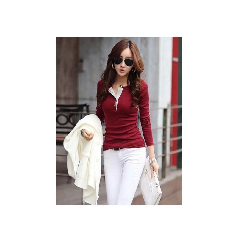 Korean Fashion Women S Slim Chiffon Tops Long Sleeve Shirt Casual