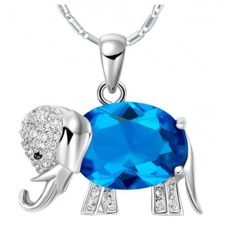 Crystal Zircon Elephant Necklace Purple
